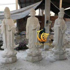 Bộ Tượng Tam Thế Phật Đá Tự Nhiên Tại Xưởng