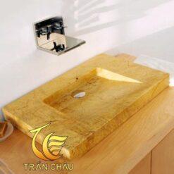 Lavabo Chữ Nhật Đá Cẩm Thạch Vàng