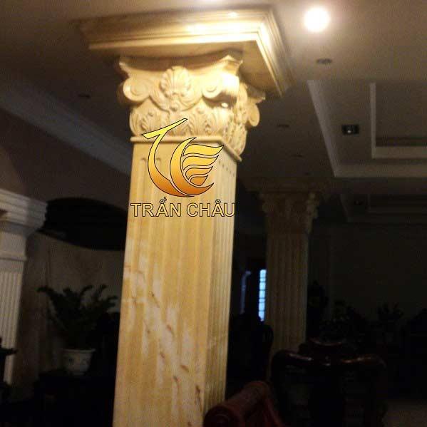 Cột Đá Cẩm Thạch Vàng Cho Biệt Thự