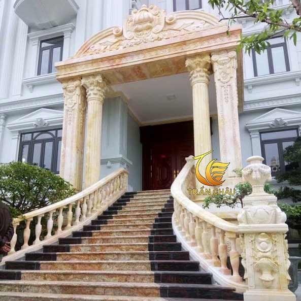 Lan Can Đá Cẩm Thạch Vàng Cho Biệt Thự