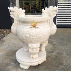 Lư Hương Trạm Rồng Đá Mỹ Nghệ