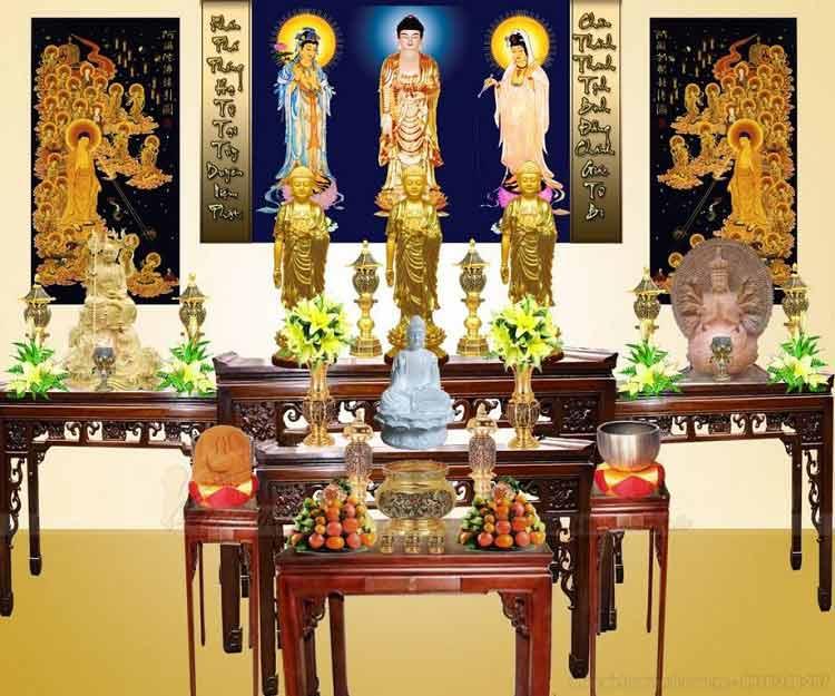 Mẫu Bàn Thờ Tam Thế Phật Tại Nhà