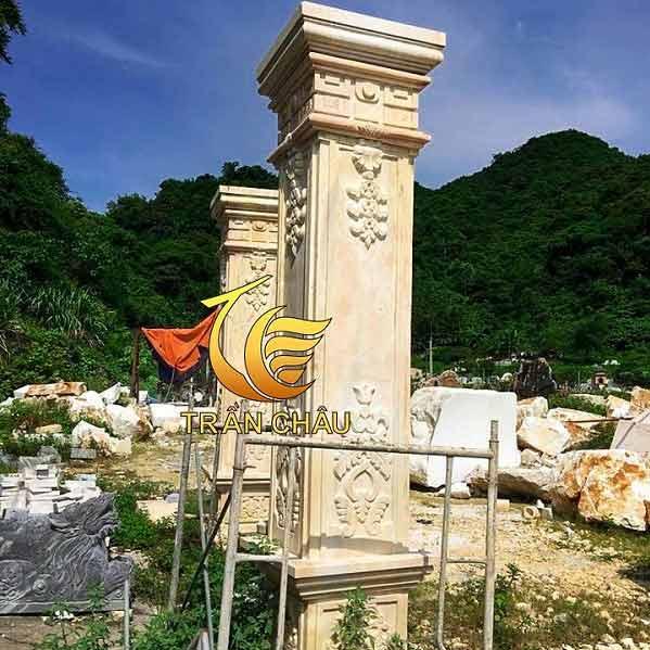 Ốp Chân Trụ Đá Vuông Cho Biệt Thự Khách Sạn