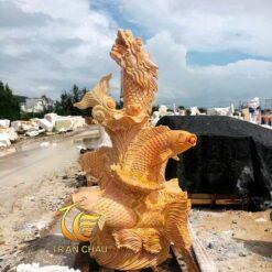 Tượng Cá Chép Hóa Rồng Đá Cẩm Thạch
