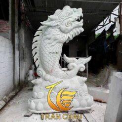 Tượng Cá Chép Hóa Rồng Đá Trắng Tự Nhiên