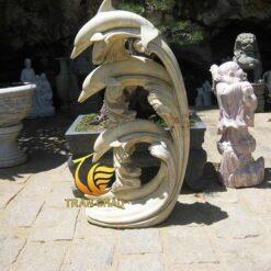 Tượng Cá Heo Đá Cẩm Thạch Vàng Nguyên Khối