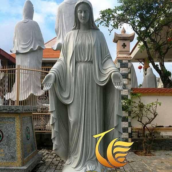 Tượng Đức Mẹ Hy Vọng Đá Cẩm Thạch Xám