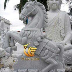 Tượng Ngựa Đá Cẩm Thạch Xám Nguyên Khối