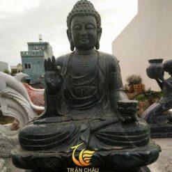 Tượng Phật A Di Đà Ngồi Đá Cẩm Thạch Đen