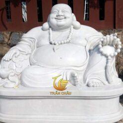 Tượng Phật Di Lặc Đa Cẩm Thạch Trắng