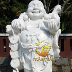 Tượng Phật Di Lặc Vát Cành Đào Đá Trắng