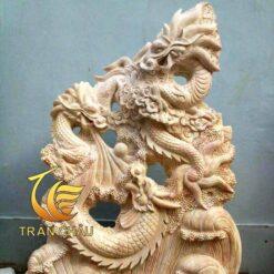 Tượng Rồng Đá Cẩm Thạch Vàng Nguyên Khối