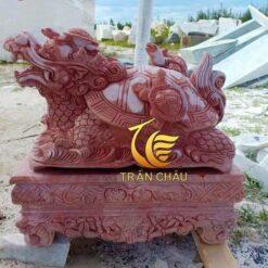 Tượng Rùa Đầu Rồng Đá Cẩm Thạch Đỏ