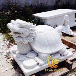 Tượng Rùa Đầu Rồng Đá Cẩm Thạch Trắng