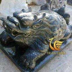 Tượng Rùa Đầu Rồng Đá Đen Nguyên Khối