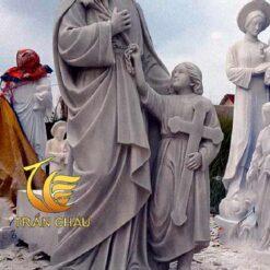 Tượng Thánh Giuse Đá Cẩm Thạch Xám
